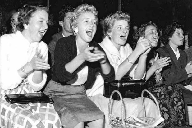 Crowd scene at the Frank Sinatra concert at The Stadium in Sydney on 21 January 1955.