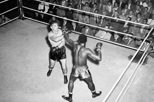 Fight between George Barnes of Australia and Attu Clottey of Ghana at the Sydney Stadium on 28 November 1955.