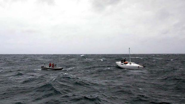 Two weeks in a leaky boat ... Glenn Ey was finally picked up at 3am yesterday morning. <i>Photo: NSW Police</i>