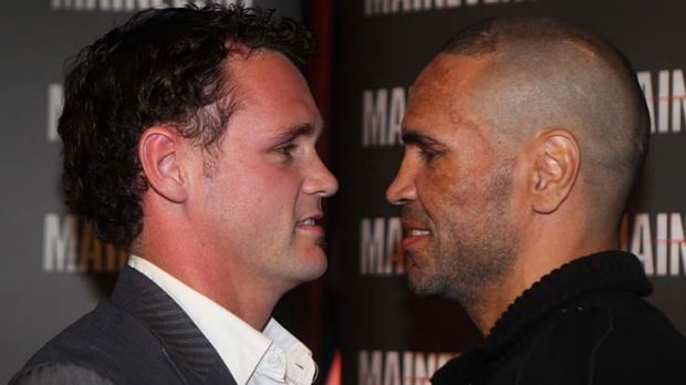 Daniel Geale and Anthony Mundine at yesterday's press conference in Sydney.