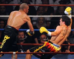 Previous encounters ... Mundine knocks Geale to the canvas back in 2009.
