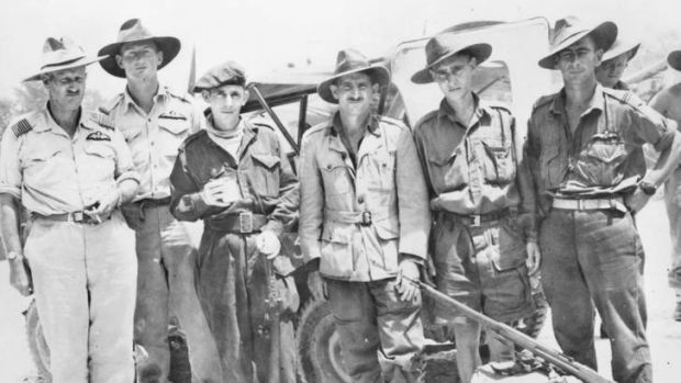 Rescued … three of the Australian Sandakan death march survivors (from second left) Private Nelson Short, Warrant ...
