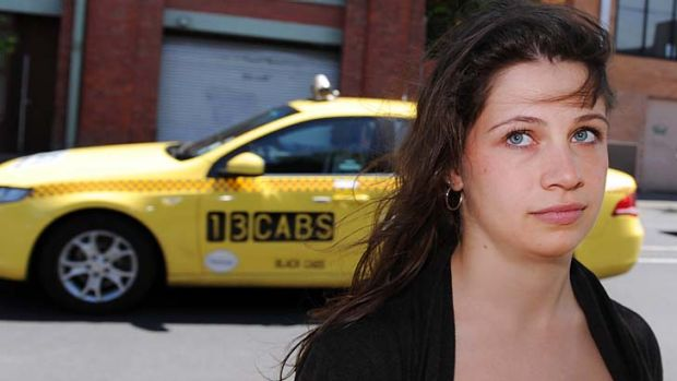 Clare Bellhouse on the corner of Wellington and Gipps streets in Collingwood, where she says she was assaulted by a taxi ...