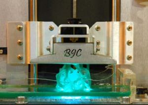 Draws and hardens ... a laser is used to draw on a liquid plastic resin that hardens under a specific wavelength of ...
