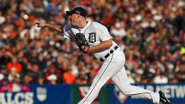 On song: Max Scherzer lets fly for Detroit against the Yankees.