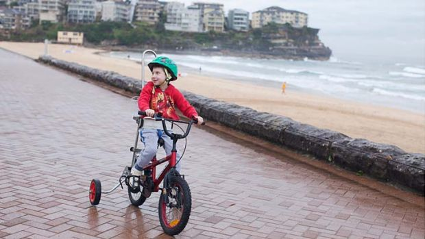 Pedal power ... Curtis Crichton, 5, will cycle his custom bike made by TAD's Bikes in the Spring Cycle to raise money to ...