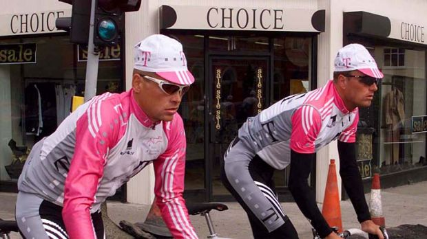 Germany's Jan Ullrich (left) and Denmark's Bjarne Riis cycle through the streets of Dun Laoghaire during a training ...