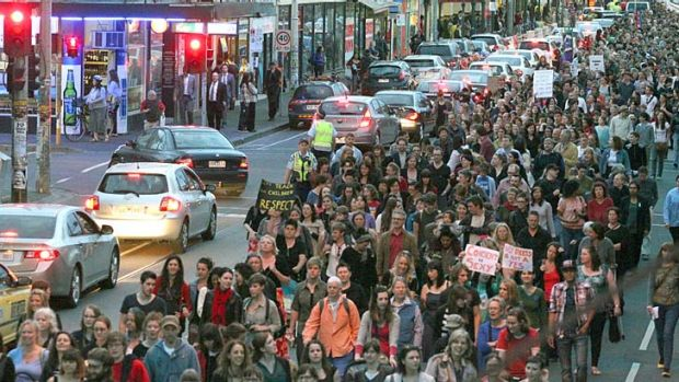 Thousands march to Reclaim the Night in Melbourne.