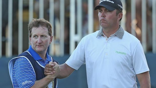 Bo Van Pelt had good reason to shake his caddy's hand after an epic birdie putt on the 18th hole on Saturday gave him a ...