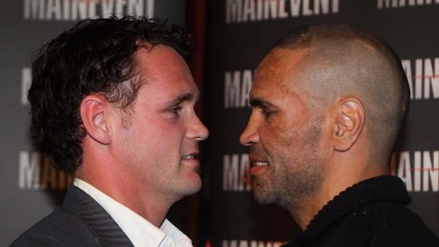 Facing off ... Anthony Mundine and Daniel Geale.