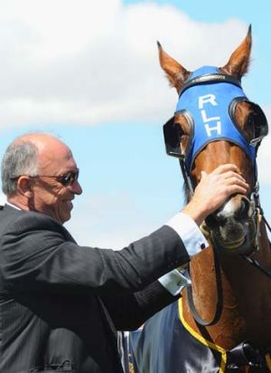 Trainer Robert Heathcote with Buffering.