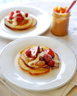Insanely delicious ... pancakes with dulce de leche.