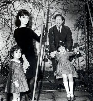 """""""I don't believe in looking back"""" … Nigella, on the swing, with her father Nigel Lawson, mother Vanessa and sister ..."""