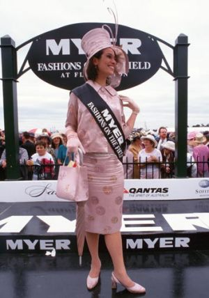 Anne Freeman in the outfit she made for 2000's Hat Day. Source: Victoria Racing Club.