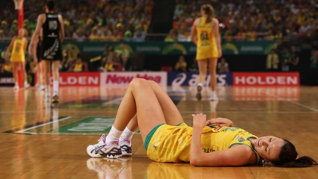 Natalie Von Bertouch lays on the court injured during the Quad Series match between the Australian Diamonds and the New ...