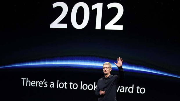 Tim Cook announces a new iPad earlier this year.