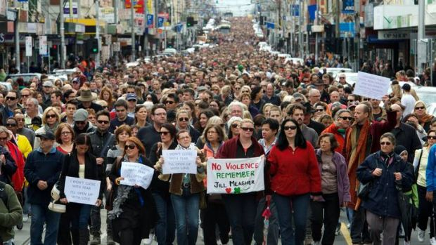 "Tens of thousands of people walk along Sydney road in a ""Peace March"", about a week after the murder of Jill Meagher."