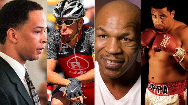 Rae Carruth, Lance Armstrong, Mike Tyson and John Hopoate - sporting villains of all different types.