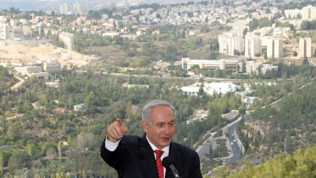 """We have full rights to build in it"" ... Benjamin Netanyahu in Gilo yesterday."
