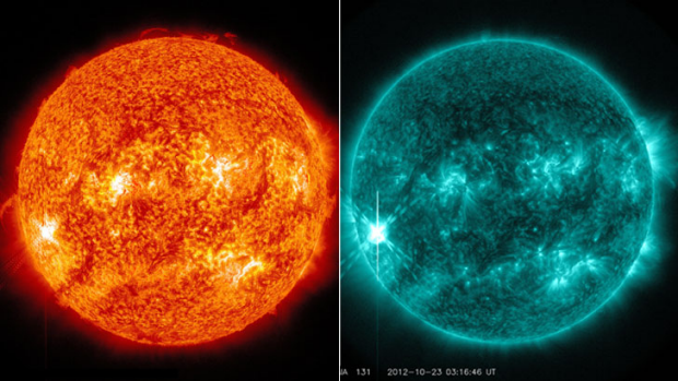 A solar flare on October 22 in a blended 304-Magnetogram image, left, and as captured by NASA's Solar Dynamics ...