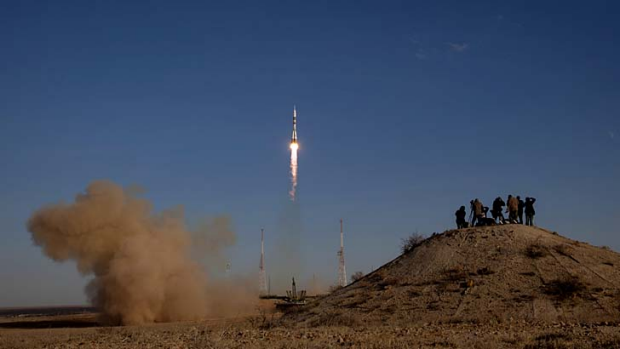 The Russian Soyuz rocket launches to the International Space Station.