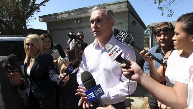 """""""I will be vindicated""""... Craig Thomson outside his home today."""