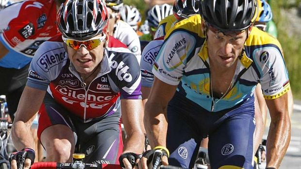 Cadel Evans (left) and Lance Armstrong during the 2009 Tour de France.