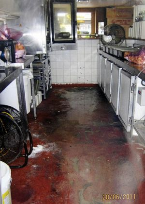 Sofia's pizza kitchen, where among other things, dirty cooking equipment was found.