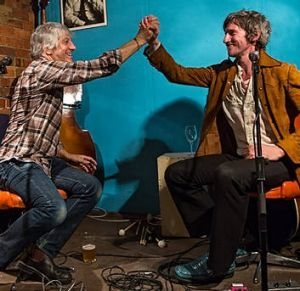 Lee Ranaldo, who played Pure Pop, with Tim Rogers, who plays on Key of Sea.