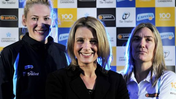 The power trio of Australian basketball: Lauren Jackson, NBL chief executive Kristina Keneally and Canberra Capitals ...