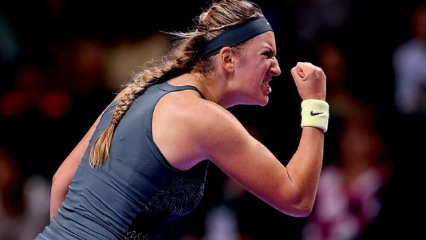 Yes!: Victoria Azarenka is pumped as she wins against Angelique Kerber.