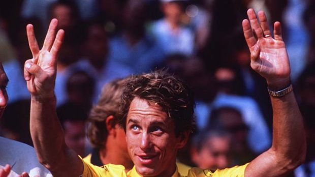 Flashback: Greg LeMond celebrates after winning the Tour in 1990.