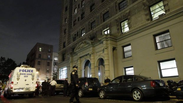 A police vehicle in front of the apartment on New York's West 75th Street.