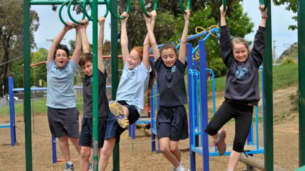 Hanging out: Grade 5 students at Boronia Heights (from left) Mitchell, Tim, Lexy, Ally and Emmerson.