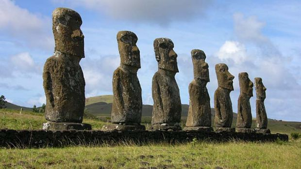 At watch ... two moai statues on Easter Island.