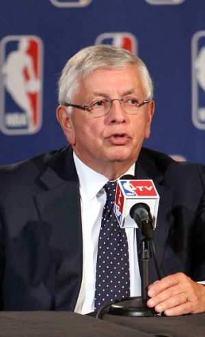 NBA commissioner David Stern informs the media about his plans to step down in February 2014.