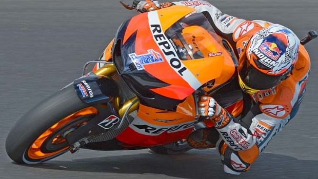 Flying machine: Casey Stoner in the first practice session yesterday for the Australian Motorcycle Grand Prix at Phillip ...