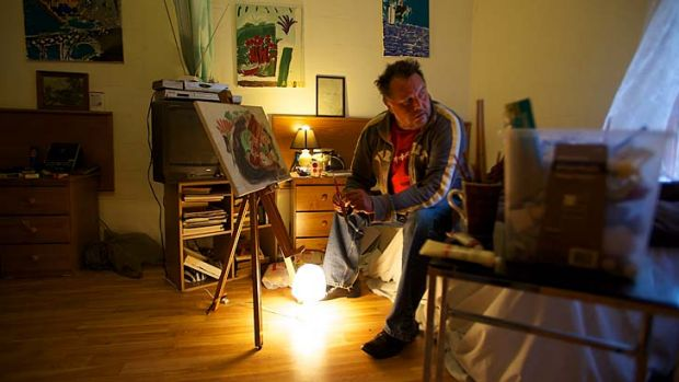Kiah resident Anthony Duncan has at last found a safe home, which he brightens up with his paintings.