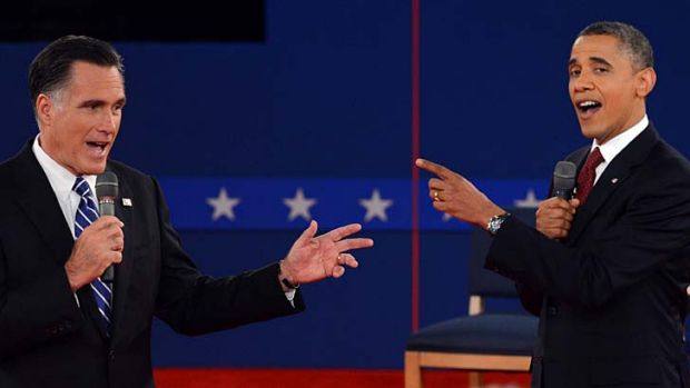 Talking themselves hoarse about jobs and debts ... US President Barack Obama and Republican presidential candidate Mitt ...