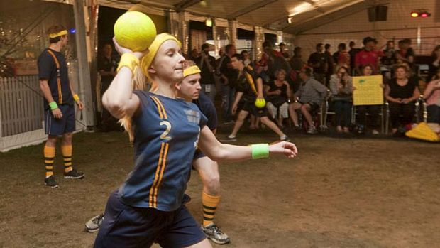 Competitive ... dodgeball at the World Firefighter Games in Pyrmont.