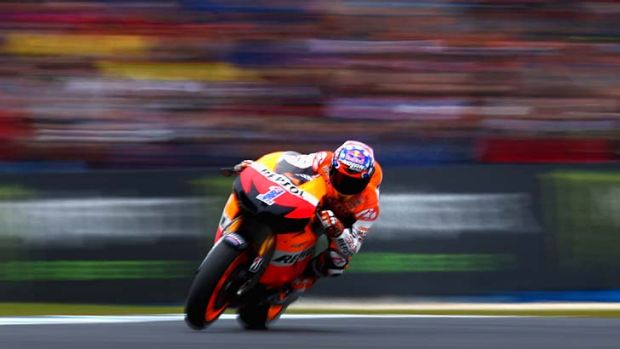 Casey Stoner during today's warm-up session.