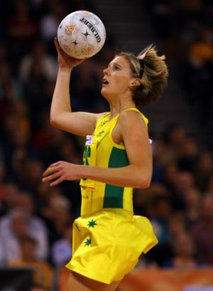 Diamond day: Australia's Cath Cox, who shot 22 from 28 against England.