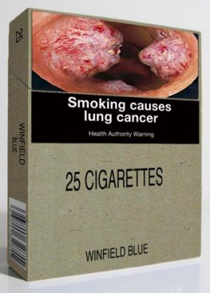 A mock-up of the plain cigarette package.