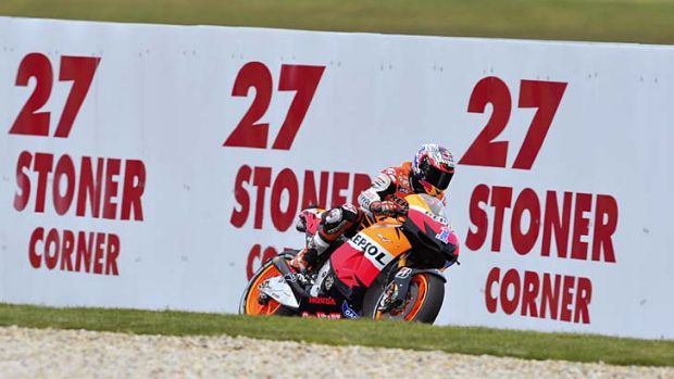 In control ... Casey Stoner on his way to locking in his farewell victory at Phillip Island, his home turf.