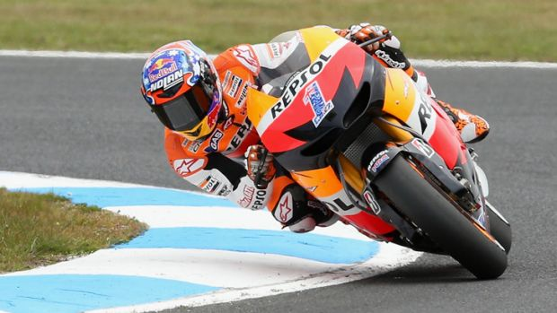 Fitting farewell: Casey Stoner, who claimed victory at Phillip Island yesterday.