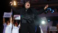 Meatloaf perfoms at a campaign rally with Republican presidential nominee Mitt Romney in Defiance, Ohio October 25, ...