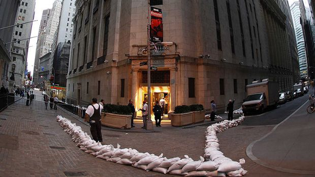 The back entrance to the New York Stock Exchange is surrounded by sand bags as Hurricane Sandy closes in on New York.