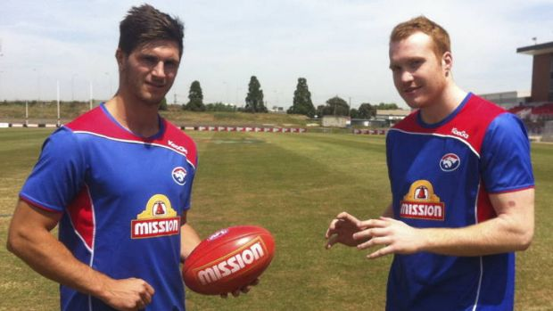 New faces: Koby Stevens and Tom Young are getting to know their Bulldogs teammates.
