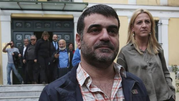 Expose … Vaxevanis outside the prosecutor's office.