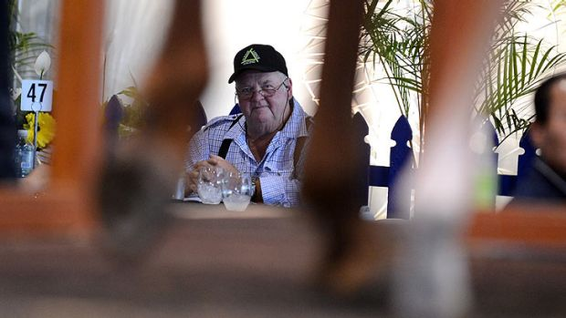 Les Tinkler, father of mining magnate Nathan, watches proceedings at the Magic Millions sales.